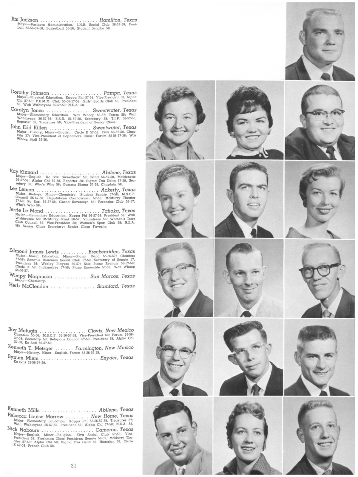 The Totem, Yearbook of McMurry College, 1959                                                                                                      31
