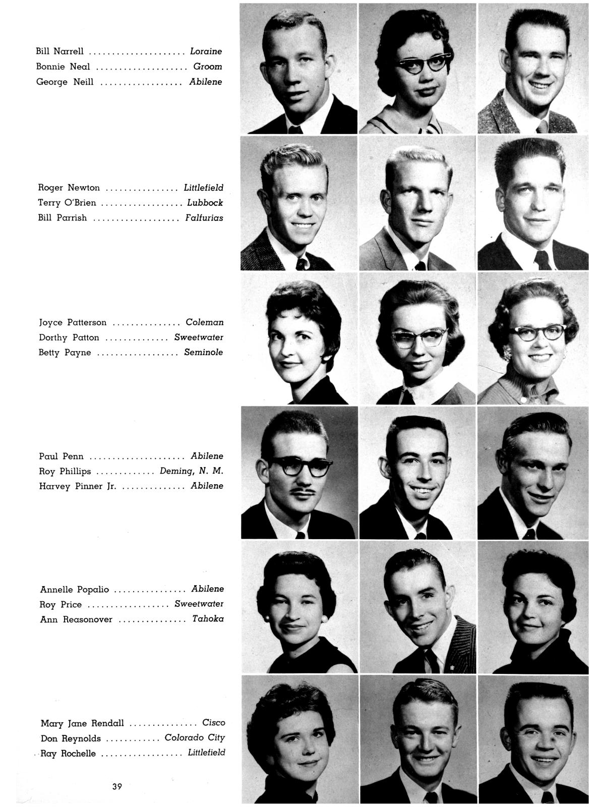 The Totem, Yearbook of McMurry College, 1959                                                                                                      39