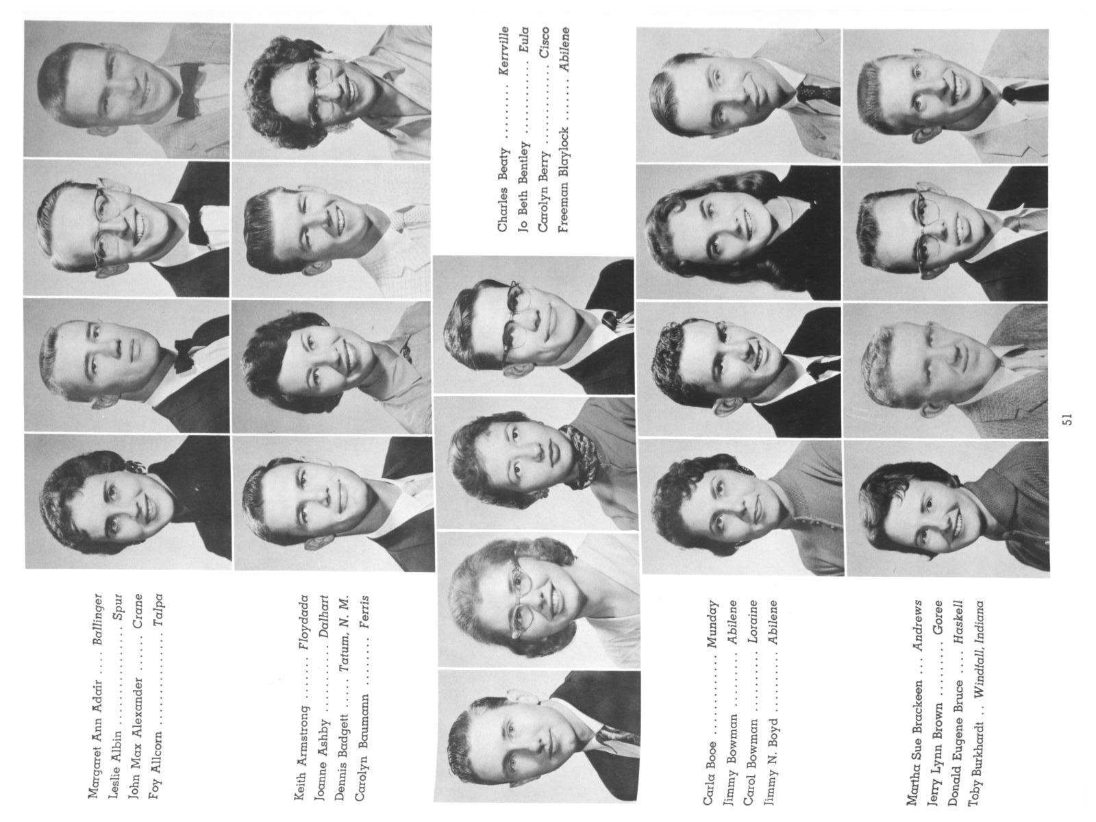 The Totem, Yearbook of McMurry College, 1959                                                                                                      51
