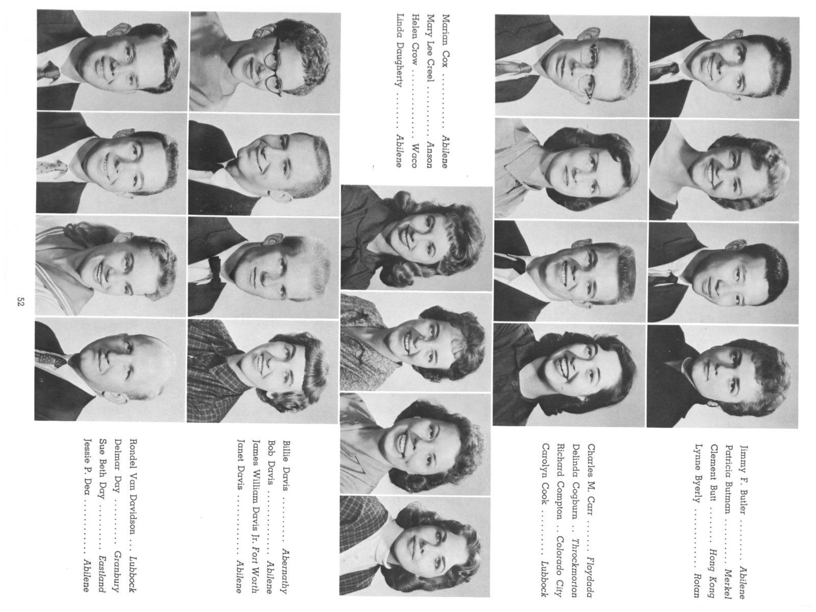 The Totem, Yearbook of McMurry College, 1959                                                                                                      52
