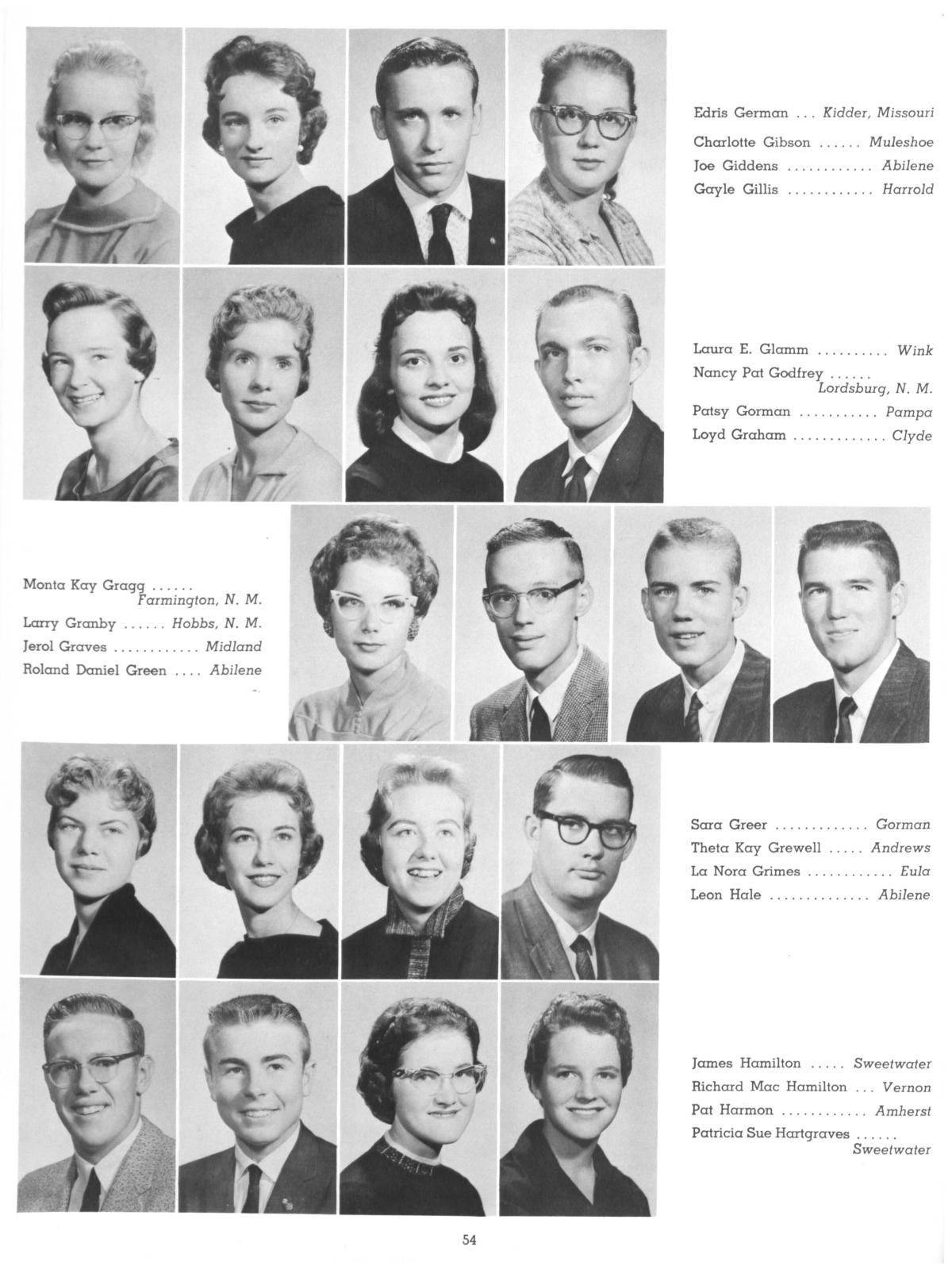 The Totem, Yearbook of McMurry College, 1959                                                                                                      54