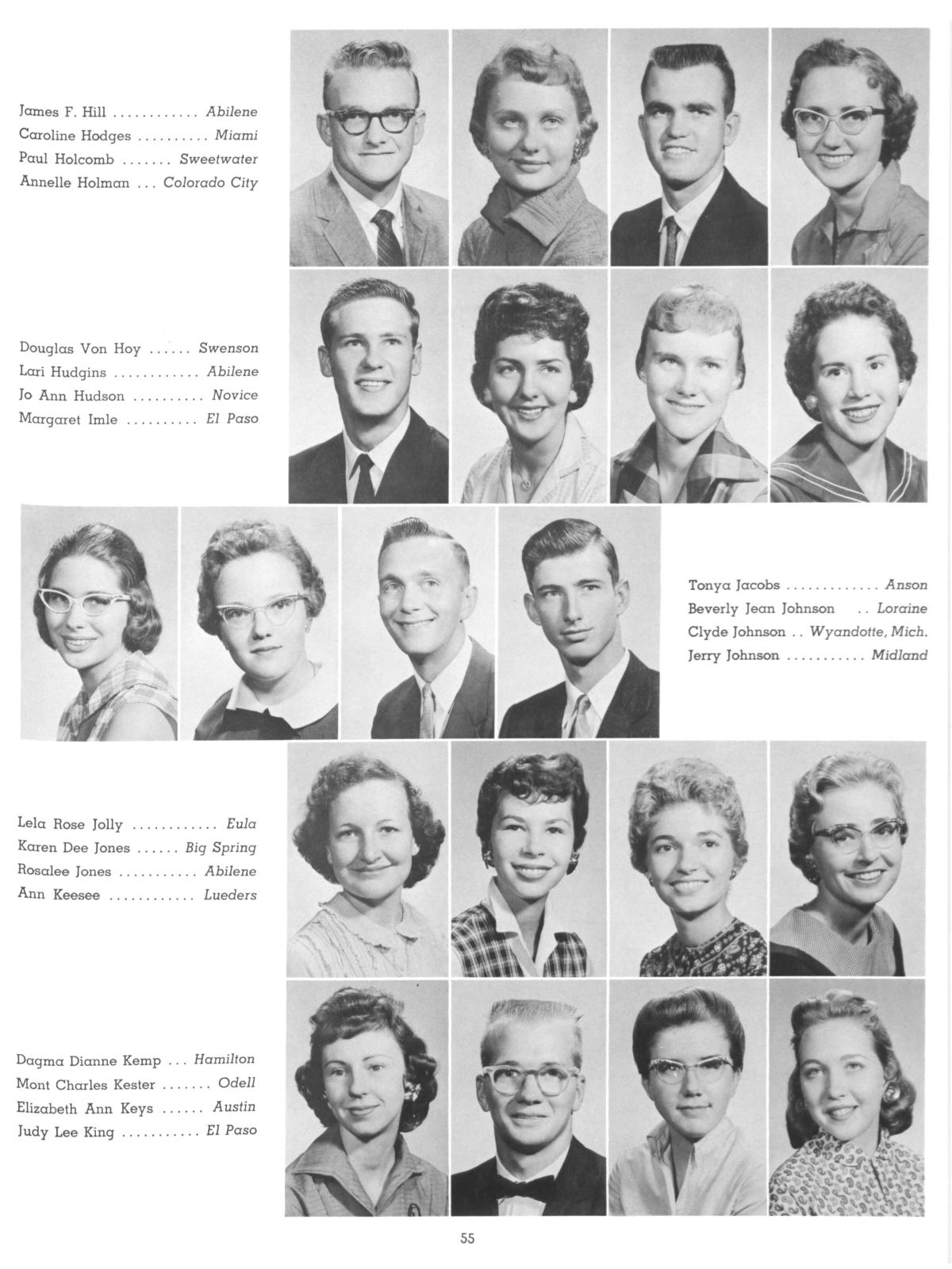 The Totem, Yearbook of McMurry College, 1959                                                                                                      55