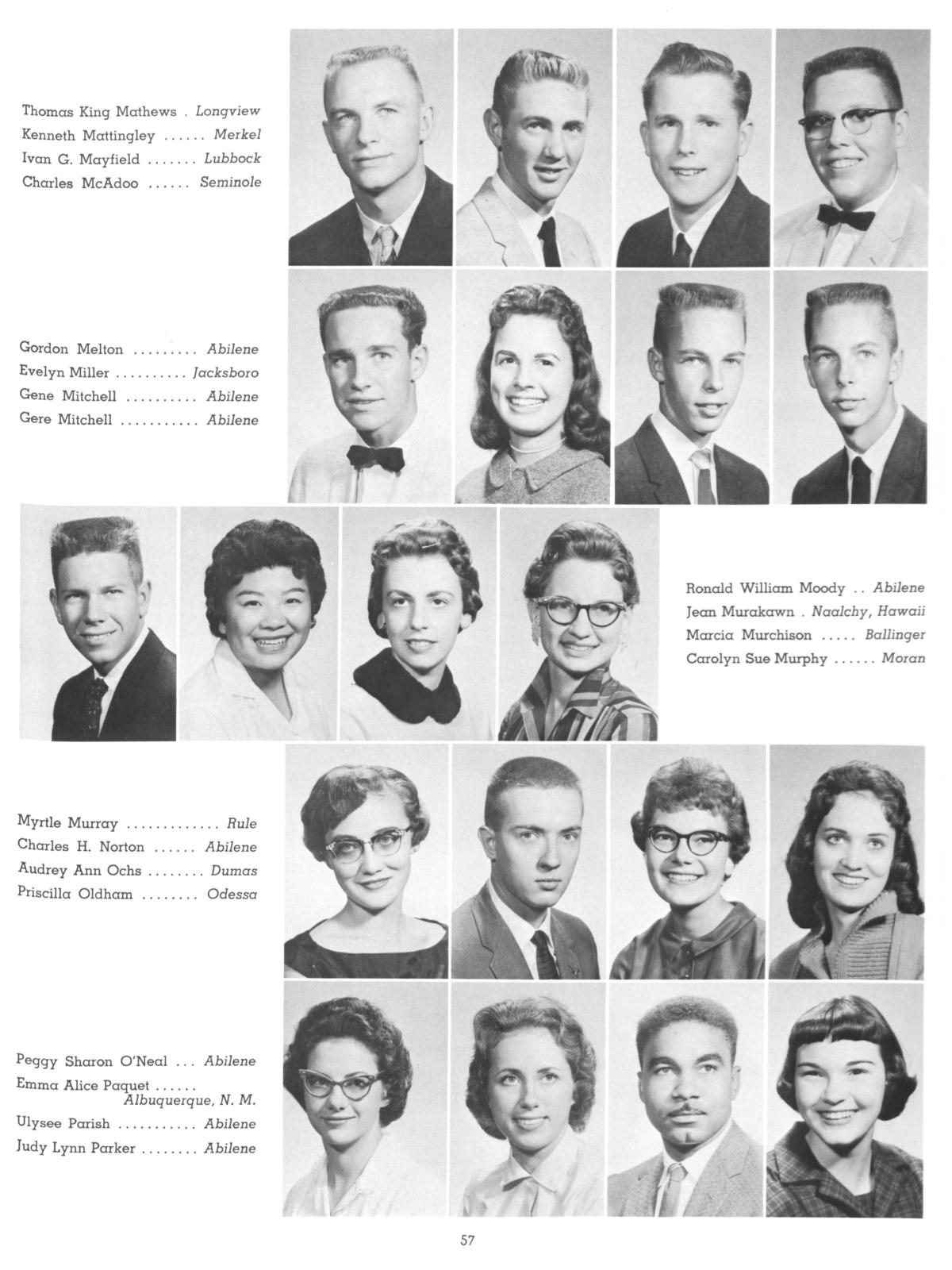 The Totem, Yearbook of McMurry College, 1959                                                                                                      57