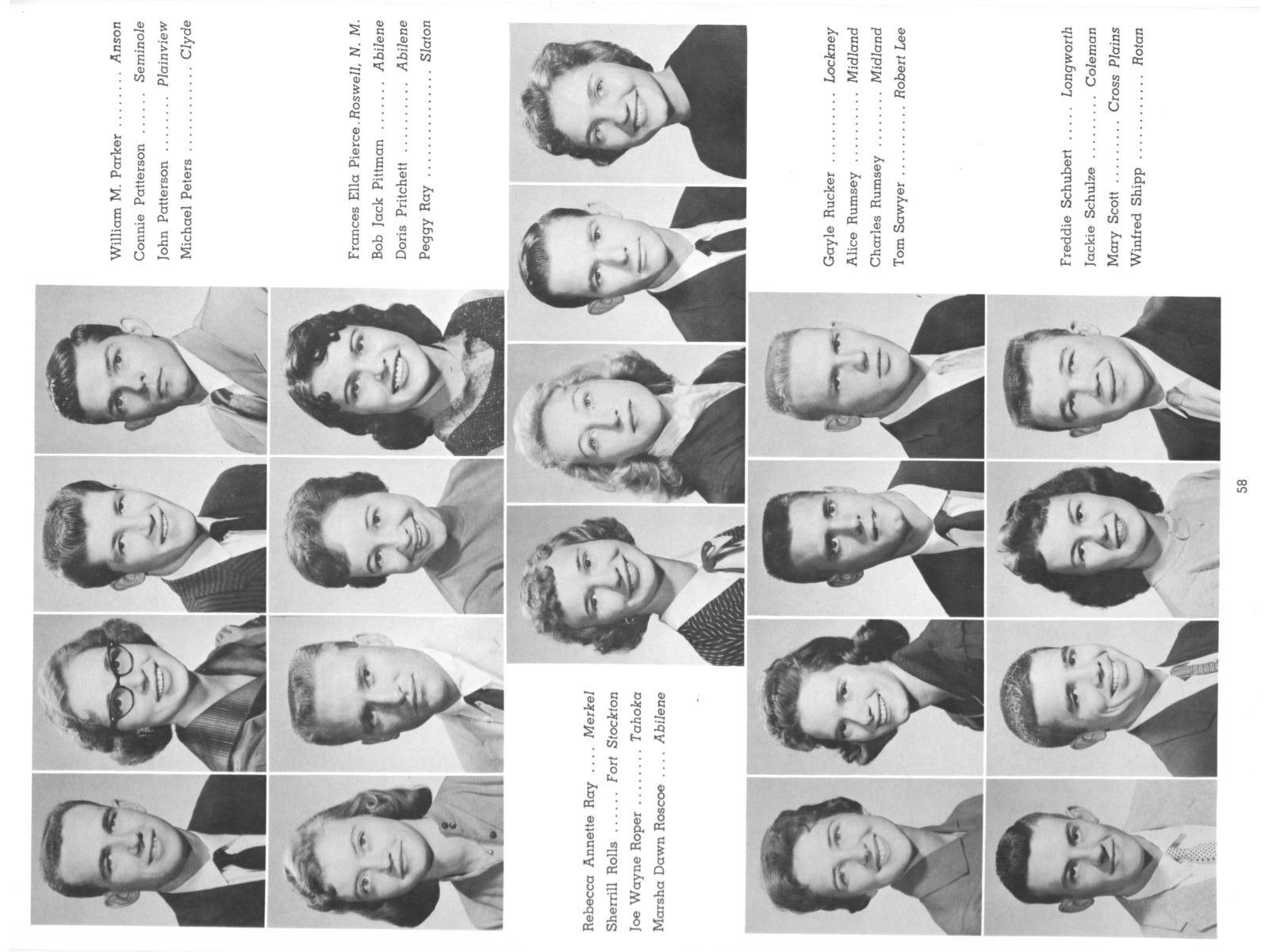 The Totem, Yearbook of McMurry College, 1959                                                                                                      58