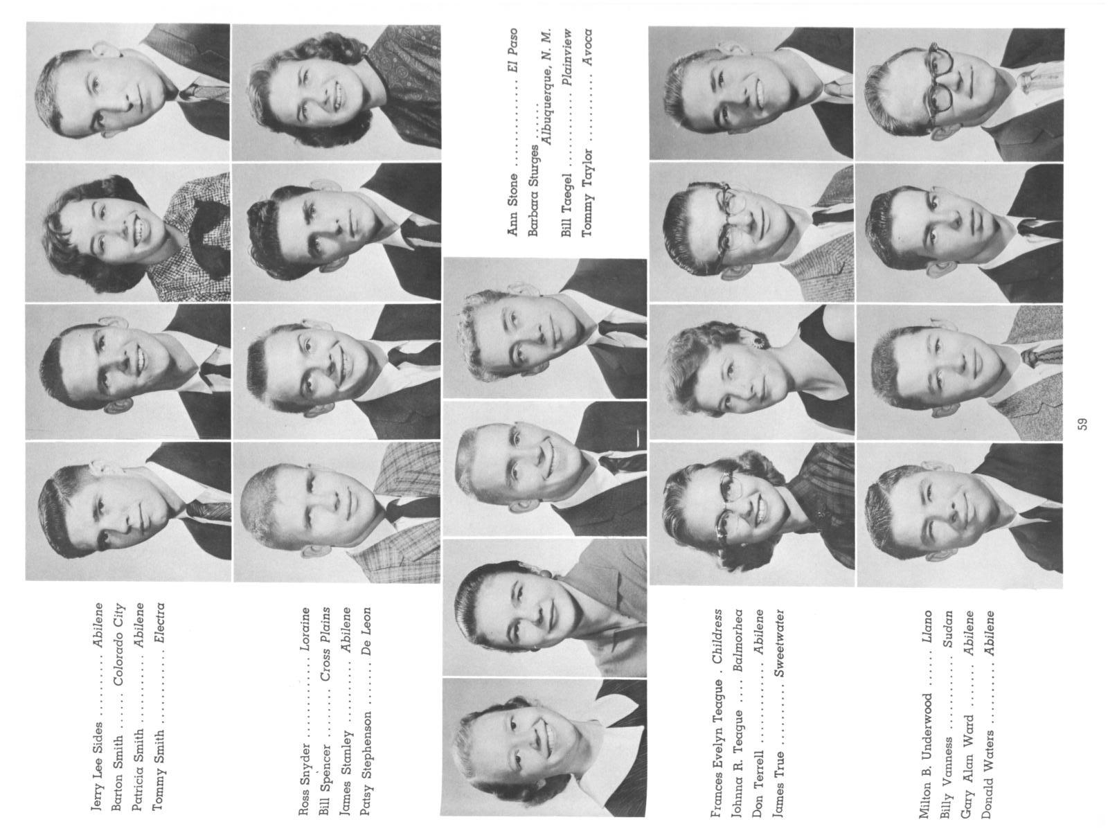 The Totem, Yearbook of McMurry College, 1959                                                                                                      59