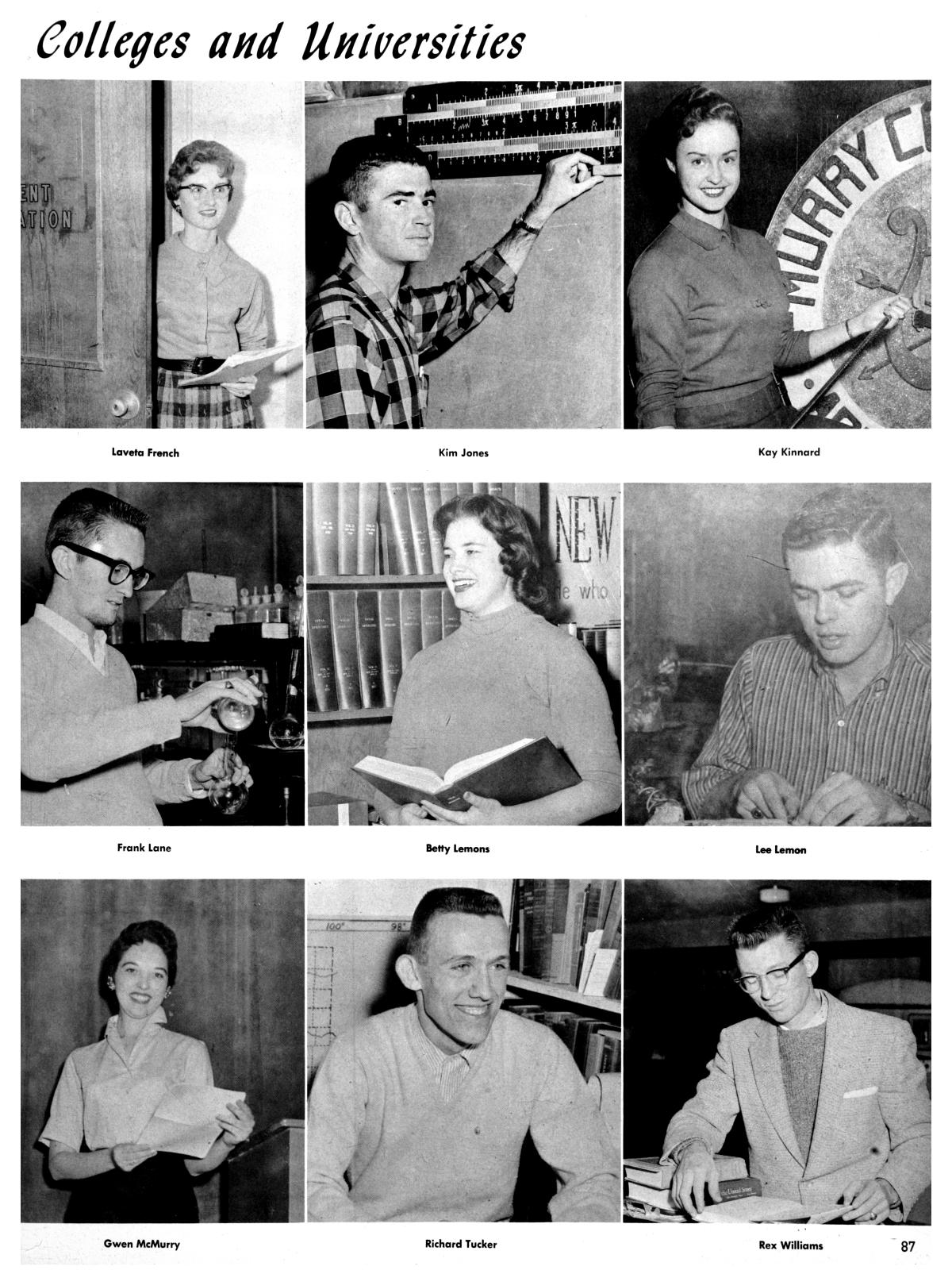The Totem, Yearbook of McMurry College, 1959                                                                                                      87