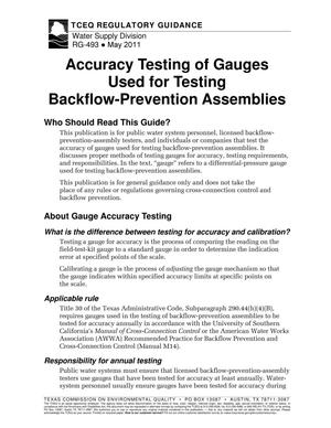 Primary view of object titled 'Accuracy testing of gauges used for testing backflow-prevention assemblies'.