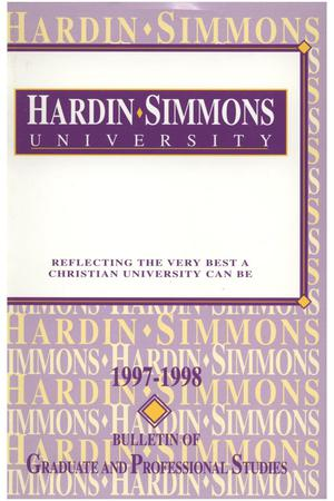 Primary view of object titled 'Catalog of Hardin-Simmons University, 1997-1998 Graduate Bulletin'.