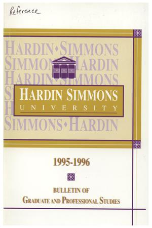 Primary view of object titled 'Catalog of Hardin-Simmons University, 1995-1996 Graduate Bulletin'.