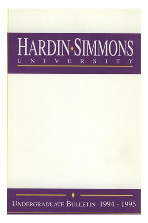 Primary view of object titled 'Catalog of Hardin-Simmons University, 1994-1995 Undergraduate Bulletin'.