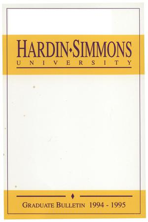 Primary view of object titled 'Catalog of Hardin-Simmons University, 1994-1995 Graduate Bulletin'.