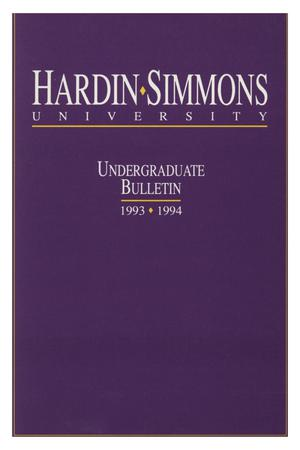 Primary view of object titled 'Catalog of Hardin-Simmons University, 1993-1994 Undergraduate Bulletin'.