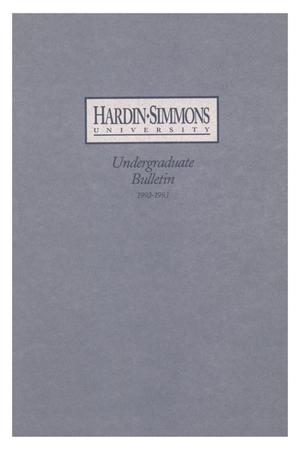 Primary view of object titled 'Catalog of Hardin-Simmons University, 1992-1993 Undergraduate Bulletin'.