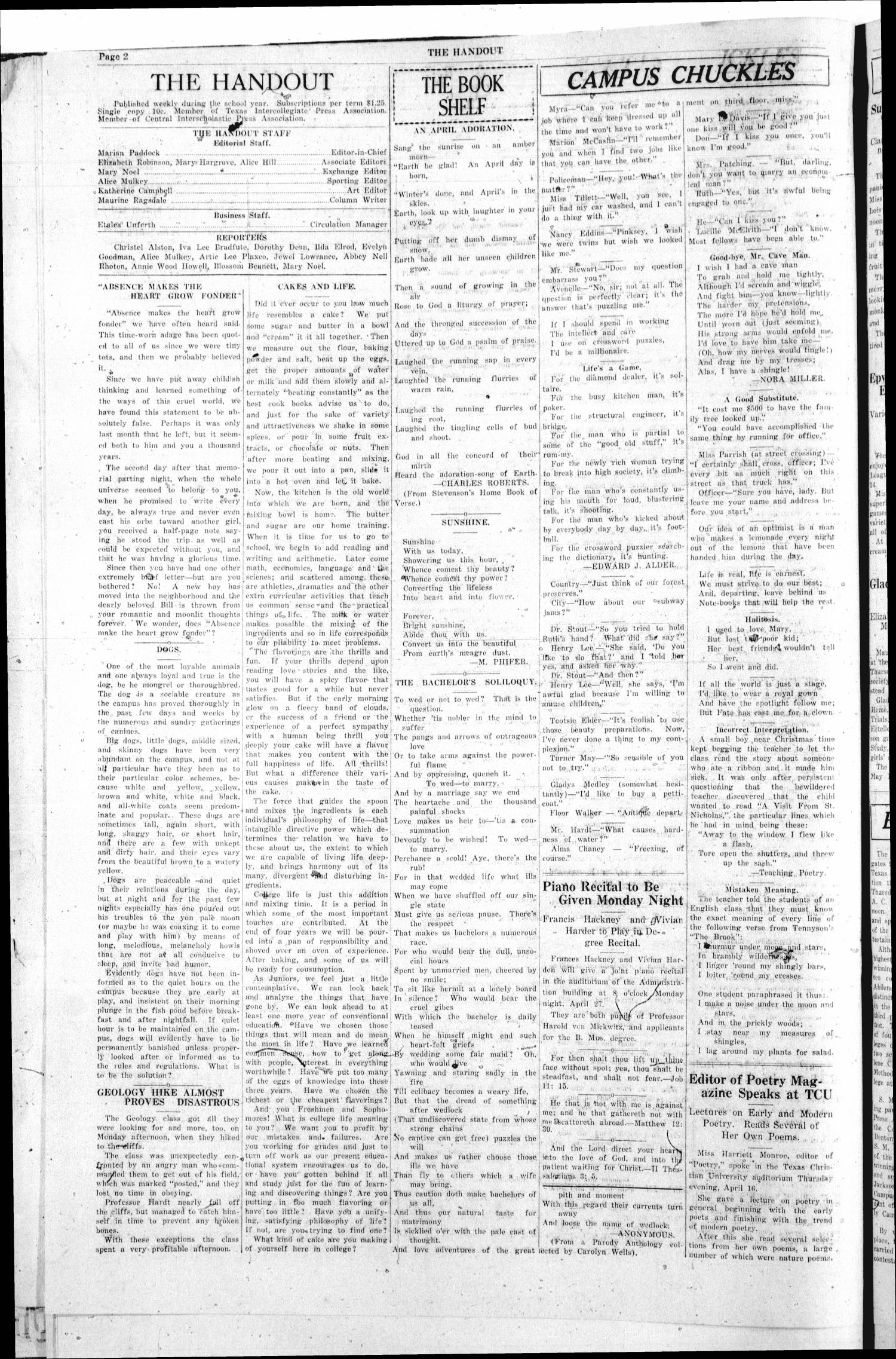 The Handout (Fort Worth, Tex.), Vol. 11, No. 25, Ed. 1 Friday, April 24, 1925                                                                                                      [Sequence #]: 2 of 4