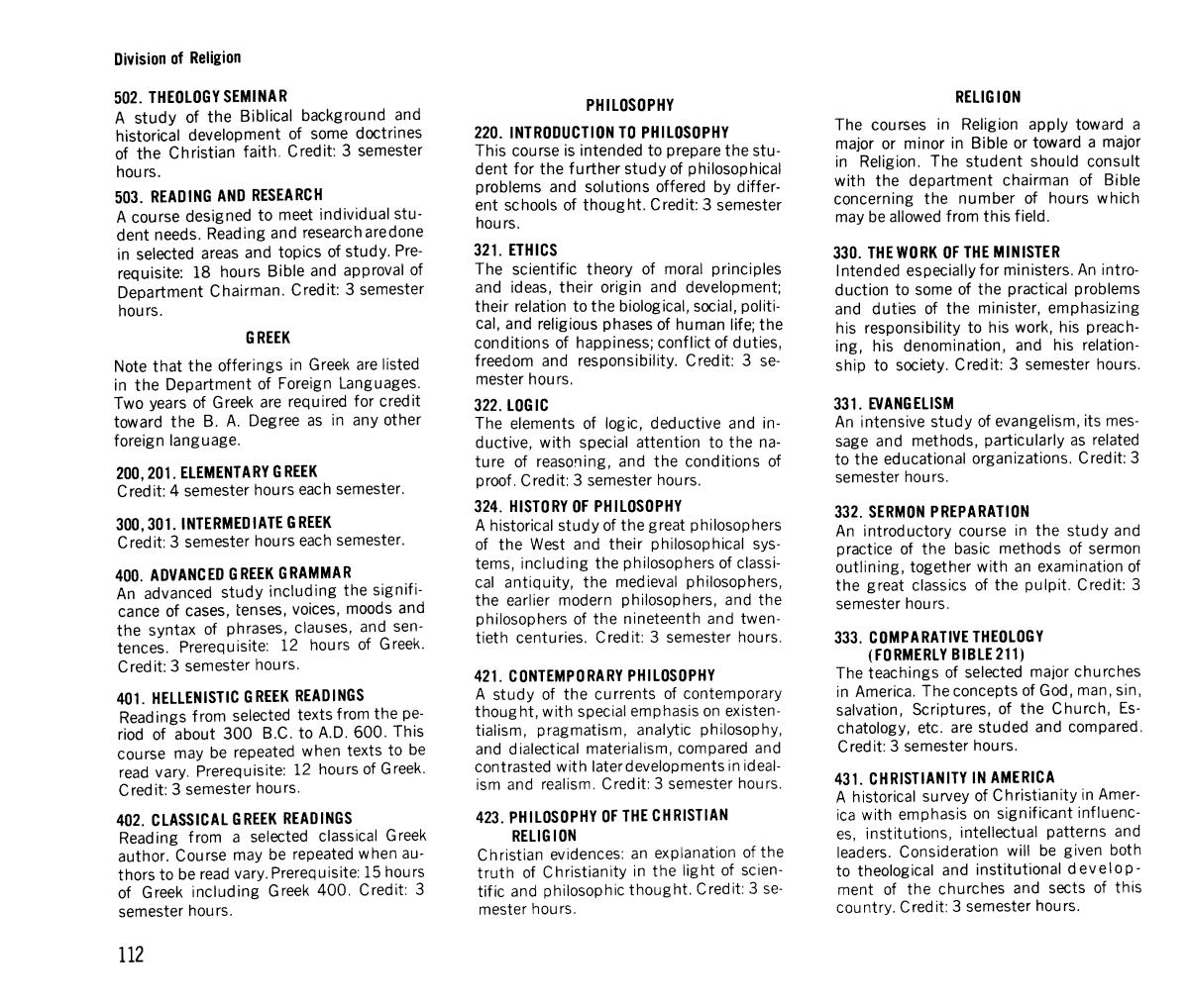 catalog of hardin simmons university 1972 1973 page 112 the