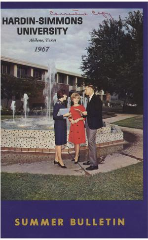 Primary view of object titled 'Catalog of Hardin-Simmons University, 1967 Summer Session'.