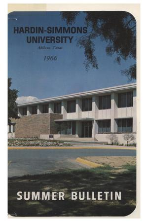 Primary view of object titled 'Catalog of Hardin-Simmons University, 1966 Summer Session'.