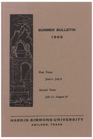 Primary view of object titled 'Catalog of Hardin-Simmons University, 1965 Summer Session'.