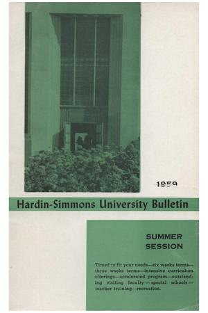 Primary view of object titled 'Catalog of Hardin-Simmons University, 1959 Summer Session'.