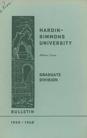 Primary view of object titled '[Catalog of Hardin-Simmons University, 1959-1960 Graduate Division]'.