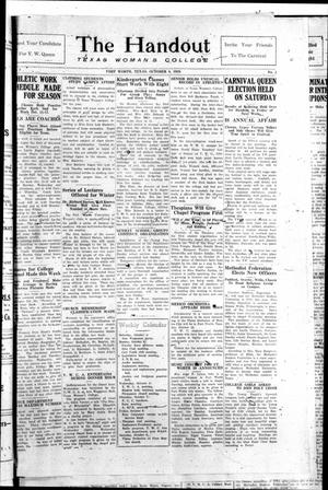 The Handout (Fort Worth, Tex.), Vol. 3, No. 3, Ed. 1 Friday, October 8, 1926