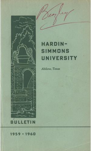 Primary view of object titled 'Catalog of Hardin-Simmons University, 1958-1959 (Re-Issue)'.