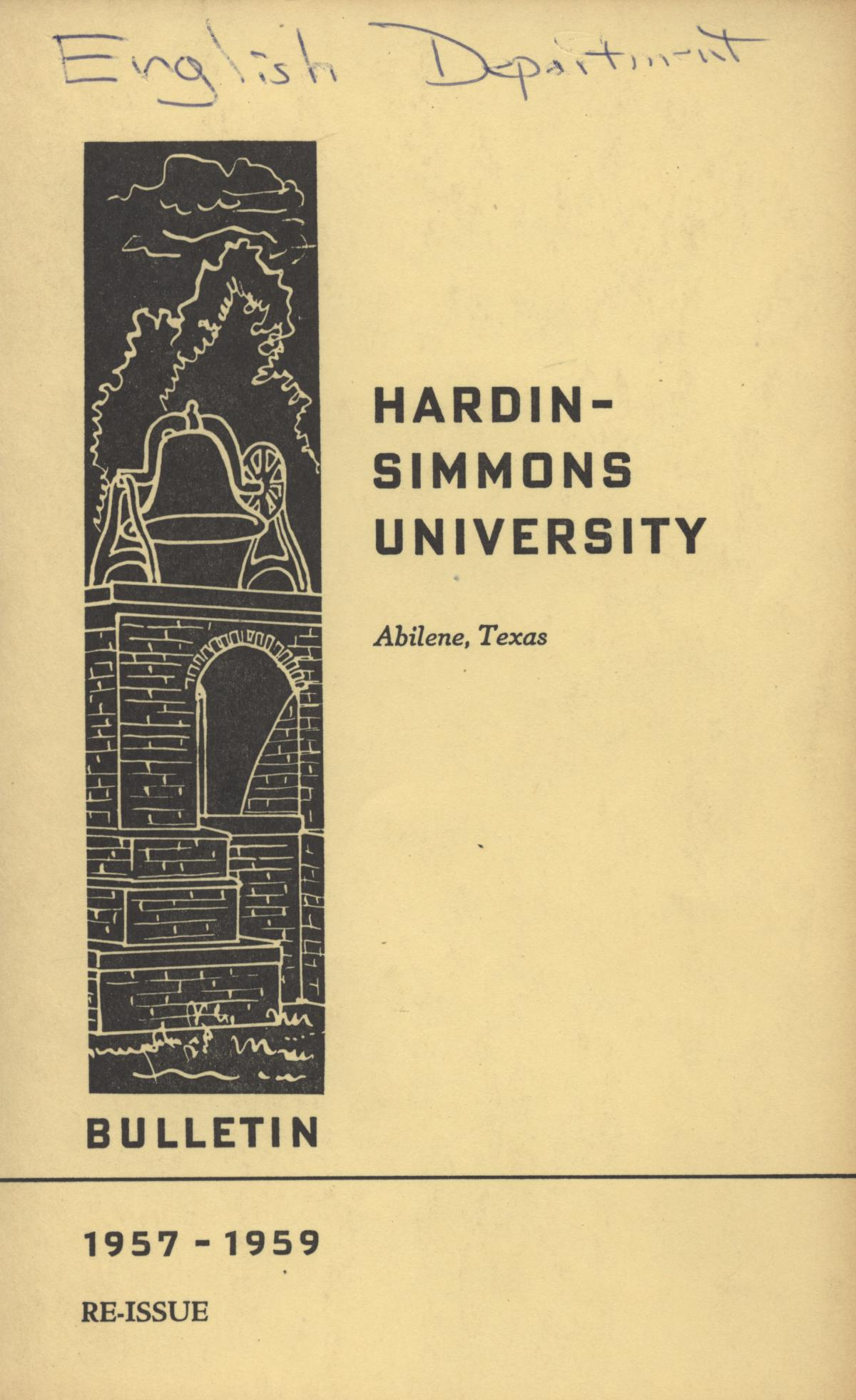 Catalog of Hardin-Simmons University, 1957-1958 (Re-Issue)                                                                                                      Front Cover