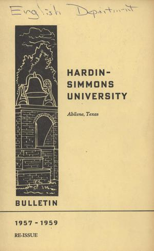 Primary view of object titled 'Catalog of Hardin-Simmons University, 1957-1958 (Re-Issue)'.