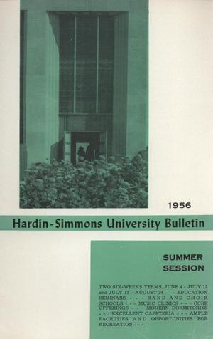 Primary view of object titled 'Catalog of Hardin-Simmons University, 1956 Summer Session'.