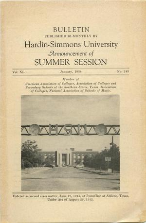 Primary view of object titled 'Catalog of Hardin-Simmons University, 1954 Summer Session'.