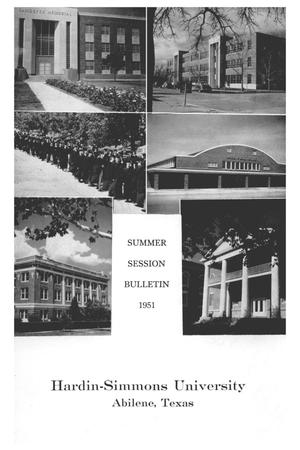 Primary view of object titled 'Catalog of Hardin-Simmons University, 1951 Summer Session'.
