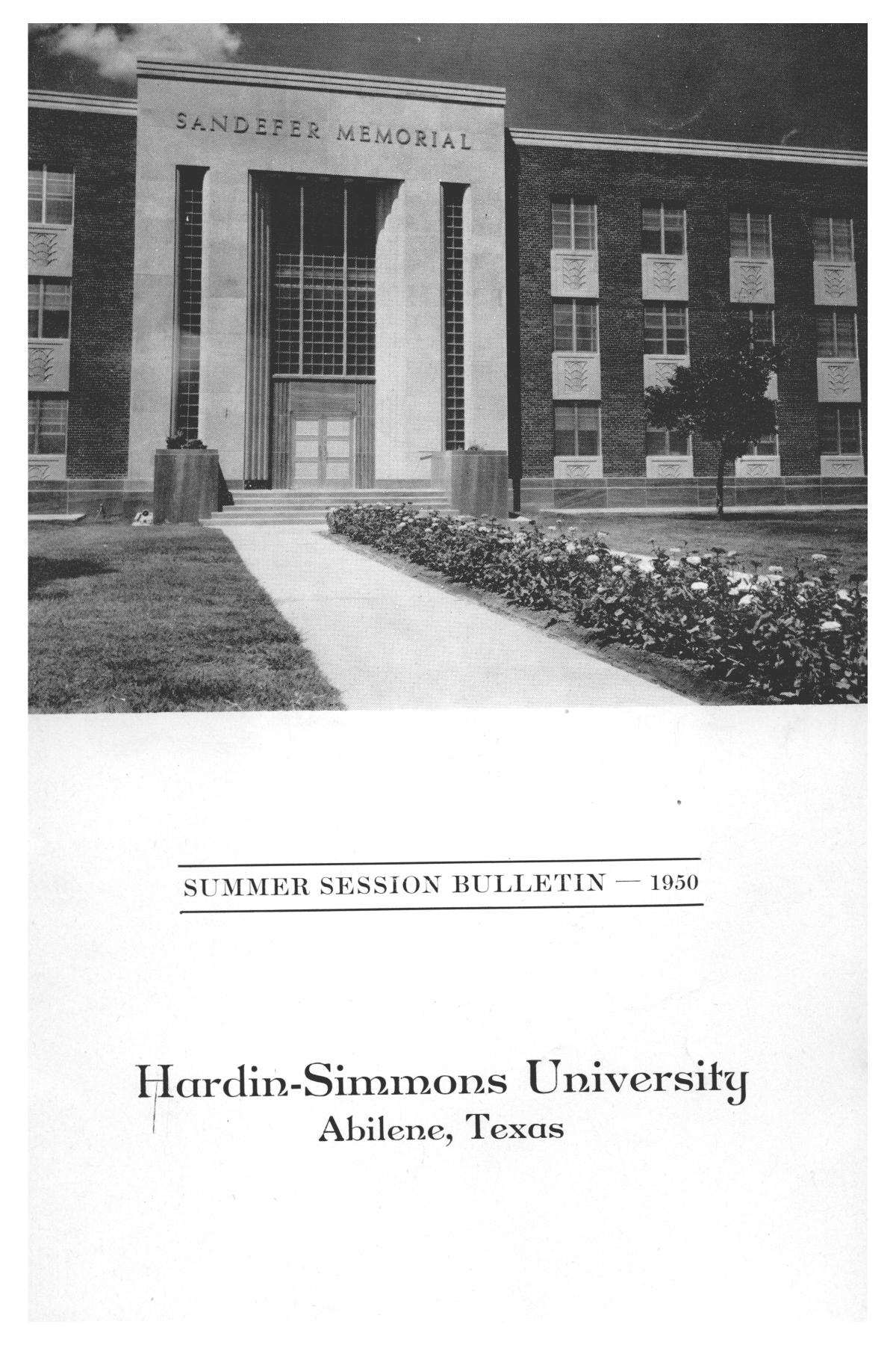 Catalog of Hardin-Simmons University, 1950 Summer Session                                                                                                      Front Cover