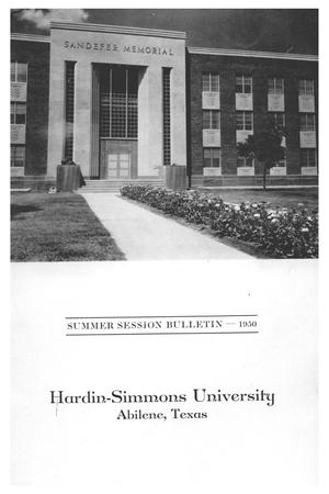 Primary view of object titled 'Catalog of Hardin-Simmons University, 1950 Summer Session'.