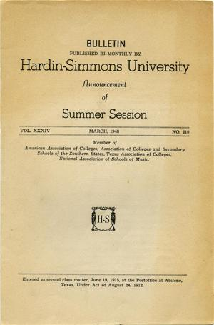 Primary view of object titled 'Catalogue of Hardin-Simmons University, 1948 Summer Session'.