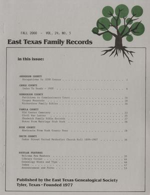 East Texas Family Records, Volume 24, Number 3, Fall 2000