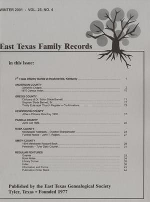 East Texas Family Records, Volume 25, Number 4, Winter 2001