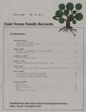 Primary view of object titled 'East Texas Family Records, Volume 24, Number 1, Spring 2000'.