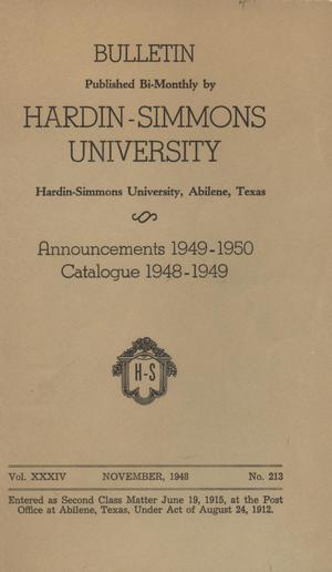 Primary view of object titled 'Catalogue of Hardin-Simmons University, 1948-1949'.