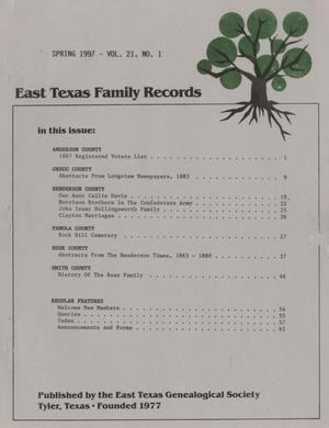 East Texas Family Records, Volume 21, Number 1, Spring 1997