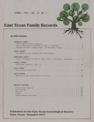 East Texas Family Records, Volume 22, Number 2, Summer 1998