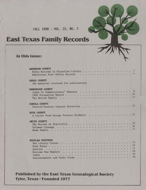 East Texas Family Records, Volume 22, Number 3, Fall 1998