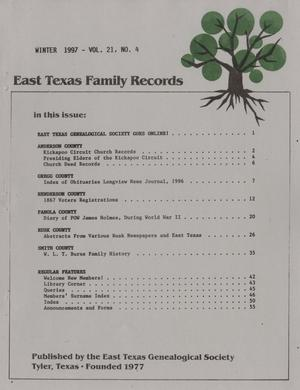 East Texas Family Records, Volume 21, Number 4, Winter 1997