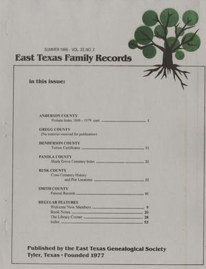 Primary view of object titled 'East Texas Family Records, Volume 23, Number 2, Summer 1999'.