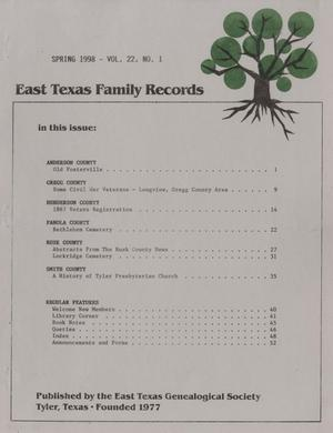 East Texas Family Records, Volume 22, Number 1, Spring 1998
