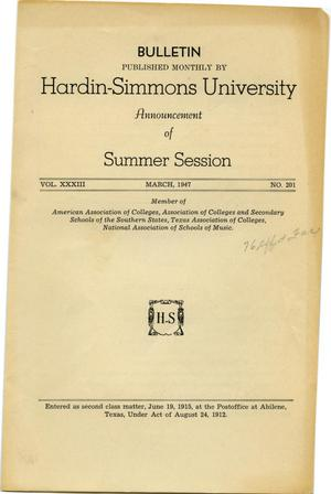 Primary view of object titled 'Catalogue of Hardin-Simmons University, 1947 Summer Session'.