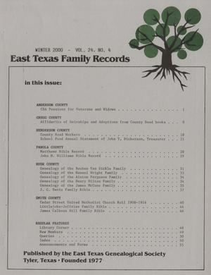 East Texas Family Records, Volume 24, Number 4, Winter 2000