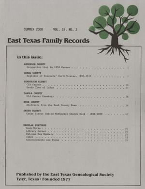 Primary view of object titled 'East Texas Family Records, Volume 24, Number 2, Summer 2000'.