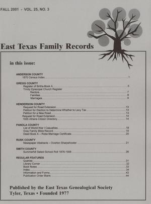 Primary view of object titled 'East Texas Family Records, Volume 25, Number 3, Fall 2001'.