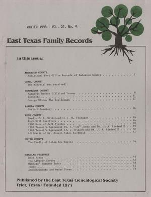 East Texas Family Records, Volume 22, Number 4, Winter 1998