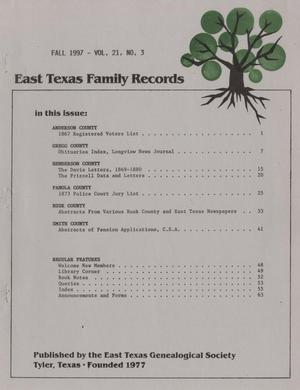 East Texas Family Records, Volume 21, Number 3, Fall 1997
